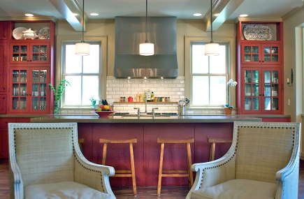 red country kitchens - colorado family kitchen with red cabinets overview - red pepper kitchen and bath via atticmag