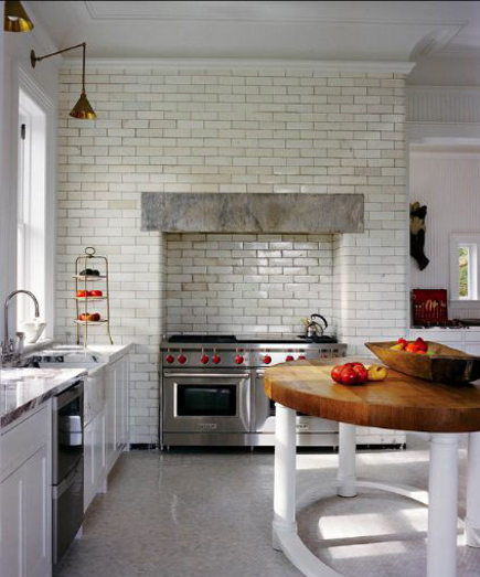 updating white kitchens - tiling an entire wall to add texture - wall street journal via atticmag