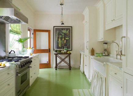 updating white kitchens - white cottage kitchen with leaf green painted floor - Melissa Ervin via atticmag