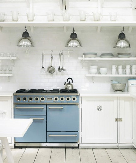 updating white kitchens - all white kitchen with light blue Falcon range - pinterest via atticmag