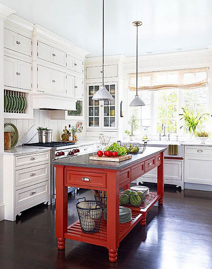 updating white kitchens - white kitchen with John Boos red Grazzi kitchen island - bh&g via atticmag
