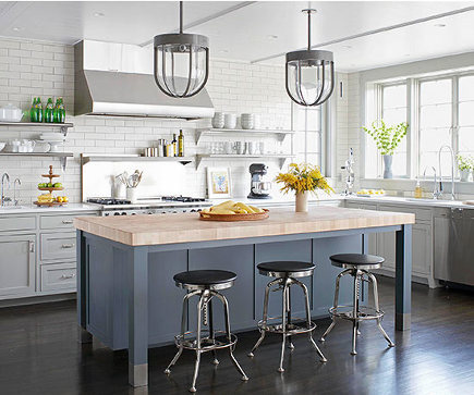 updating white kitchens - white kitchen with gray island - bh&g via atticmag