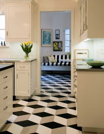 updating white kitchens - classic white kitchen with optical pattern vinyl tile floor - inlayfloors via atticmag