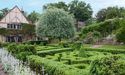 long barn gardens - parterre maze behind the house - period living via atticmag