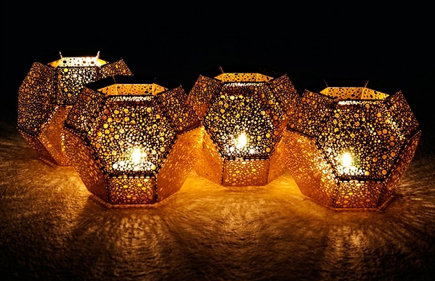 tea light holder - The geometric shapes of Etch holders by Tom Dixon diffuse candlelight into beautiful patterns - suiteny via atticag