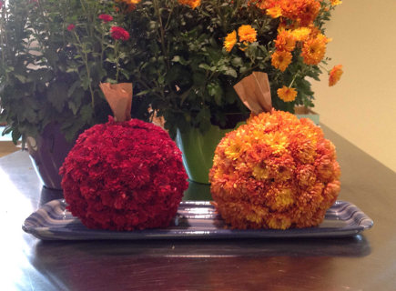 fall flower pumpkins tutorial - finished flower pumpkins tutorial - atticmag