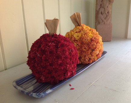 all flower pumpkins tutorial - finished flower pumpkins - atticmag
