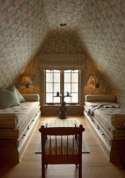 attic guest room - French style matching walls and fabric treatments with a pair of daybeds - Barry Dixon via Atticmag