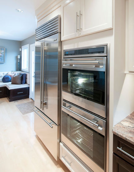 built in refrigerator - Sub Zero standard installation - houzz via atticmag