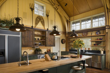 contemporary ranch kitchen - yellow and gray barn ceiling ranch house kitchen - onsitemanagement via atticmag