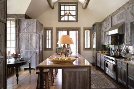contemporary ranch kitchen - weathered gray barn-style cabinet kitchen with island seating - onsitemanagement via atticmag