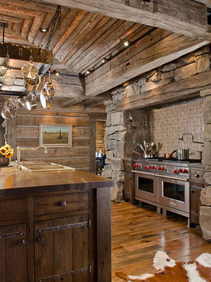contemporary ranch kitchen - log cabin style kitchen with log ceiling and stone range niche - homesmagz via atticmag