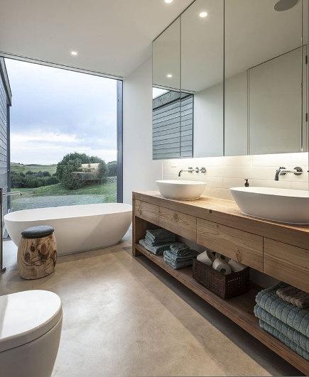 bathroom window wall in a Victoria, Australia master bath by Jam Architecture - homedezen via Atticmag