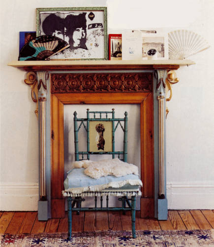Examples of unconventional fireplace mantels include this small hybrid Victorian painted maple mantel used for display - dominomag via atticmag