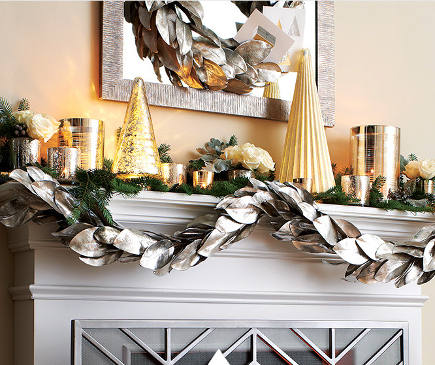 Christmas mantel with silver and gold accessories - Crate and Barrel via Atticmag