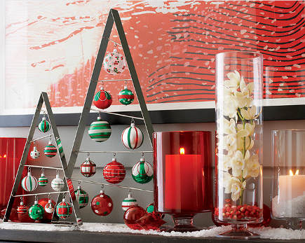 Christmas mantel created with red accessories and ornaments - Crate and Barrel via Atticmag