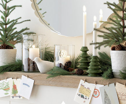 Christmas mantel - natural spruce and white accessories - Crate and Barrel via Atticmag