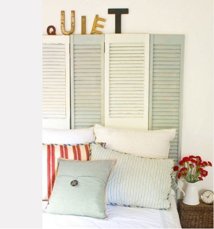 word art - quiet spelled out in letters on top of a headboard made of repurposed shutters - hgtv via atticmag