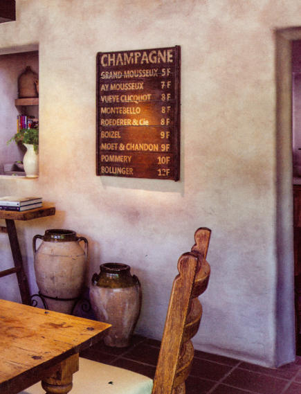 word art - rustic vintage wooden champagne wine bar menu sign in a dining room - phoenix home & garden via atticmag