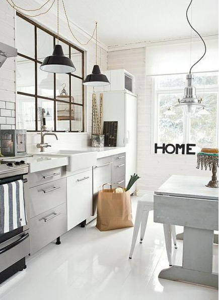 word art - home spelled out in black letters in a white industrial style European kitchen - madaboutthehouse via atticmag