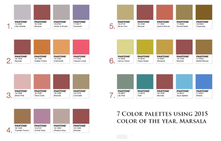 color of the year 2015 Marsala used in 7 color palettes - Pantone via Atticmag