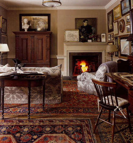 Oriental carpet colors are kept consistent in the study of a historic house - ElleDecor via Atticmag