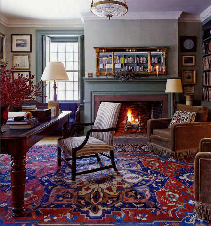 Oriental carpet colors are kept consistent from room to room in a historic house - ElleDecor via Atticmag