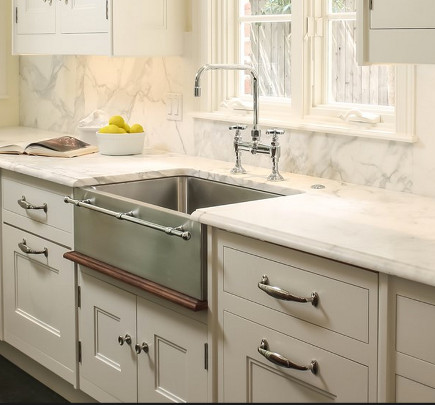 embellished farm sinks - Julien stainless steel farm sink with integral towel bar - wolf-subzero via atticmag