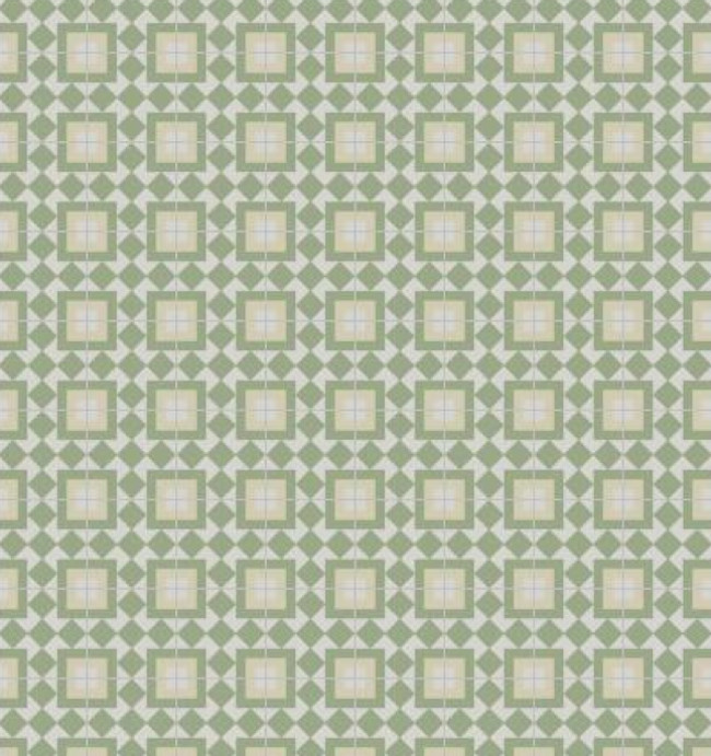 "kitchen tile backsplash ideas - Fez 8 x 8"" cement tile backsplash in green, cream and white - granada tile via atticmag"