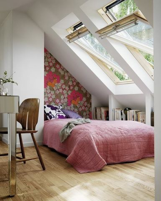 attic skylight windows - Modern bedroom in Australia with large working skylights - home beautiful via atticmag