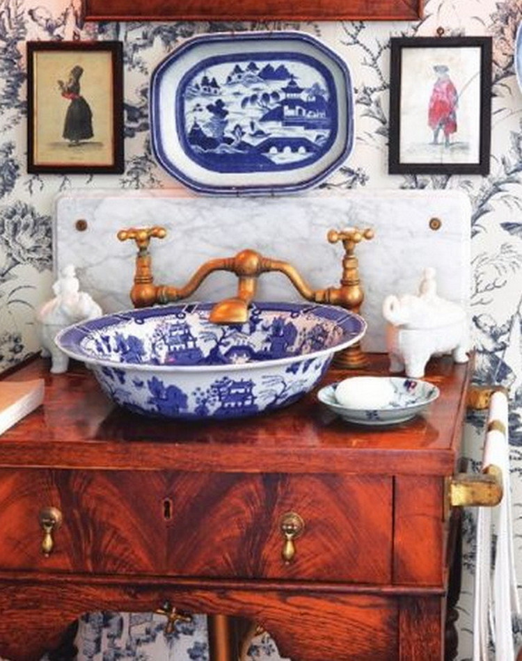 powder room sinks - blue and white Chinese porcelain vessel sink on an antique burled wood side table vanity - Hamptons Cottages & Gardens via Atticmag
