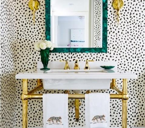 bathroom wallpaper - Thibaut Tanzania wallpaper, black on cream - Jessica Claire via Atticmag
