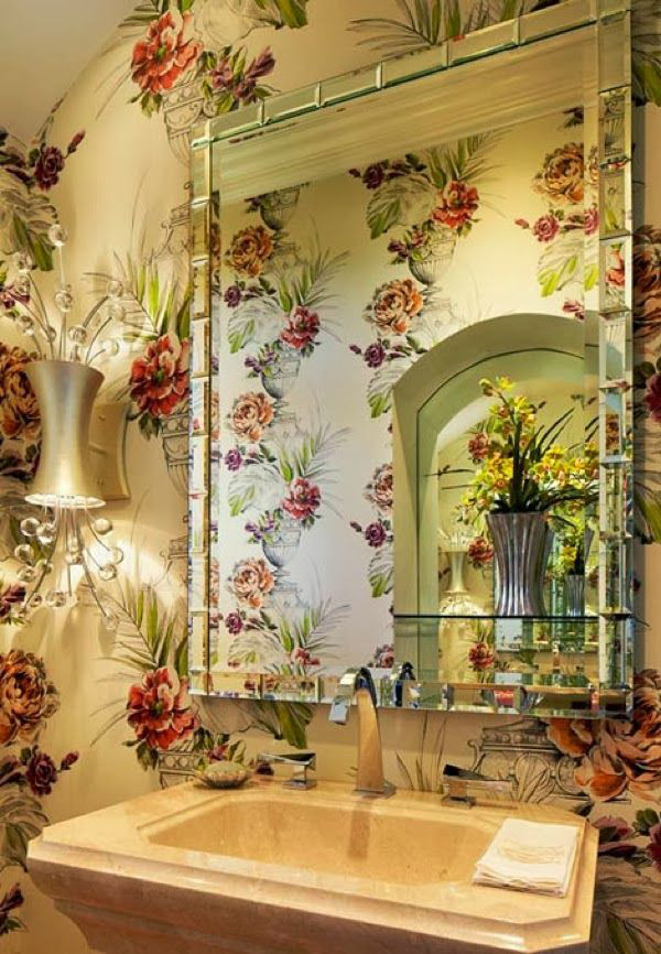 bathroom wallpaper - Designer's Guild Zephirine in a powder room by Judy Howard for the 2011 Red Cross Designer's Showhouse - Trad Home via Atticmag