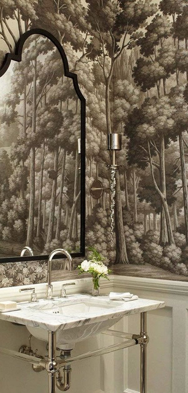 bathroom wallpaper - De Gournay English Landscape scenic paper in Eau Forte in a powder room by Frank Ponterio - De Gournay via Atticmag
