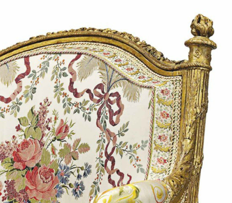 marie antoinette armchair - torch detail on the back of Marie Antoinette's giltwood Louis XVI armchair - Christie's via Atticmag