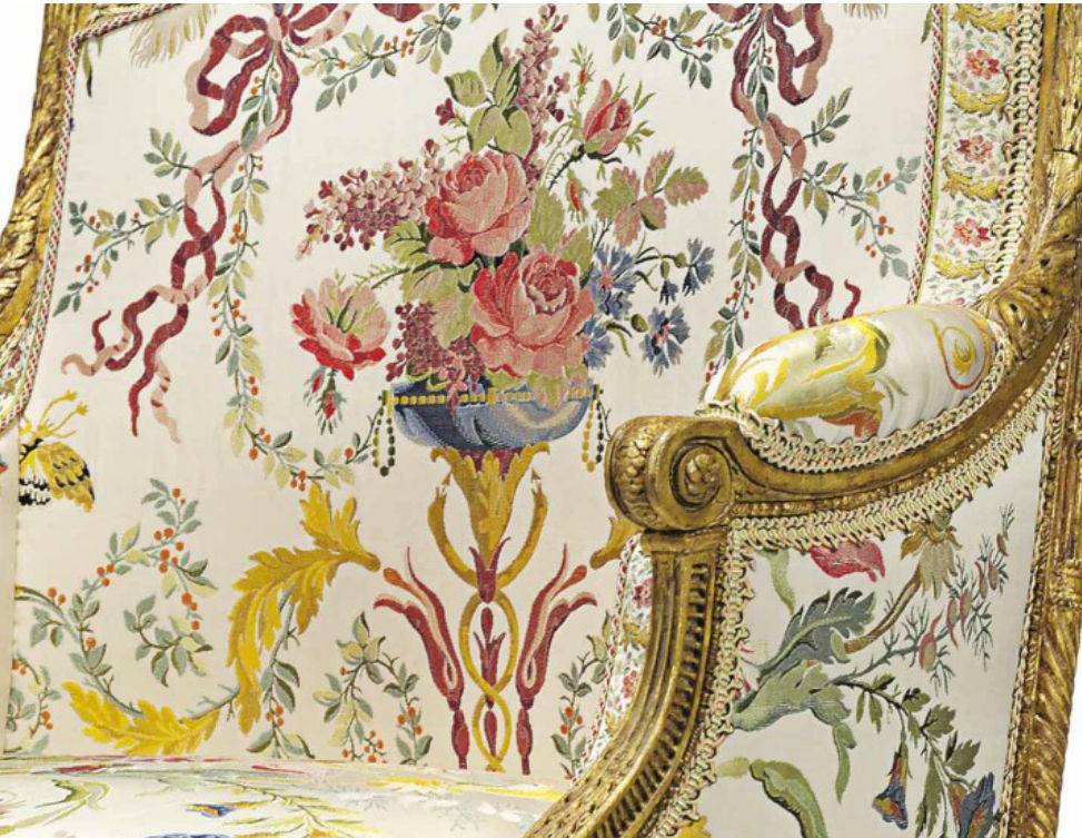marie antoinette armchair - upholstery detail of the center back of Marie Antoinette's giltwood Louis XVI armchairt - Christie's via Atticmag