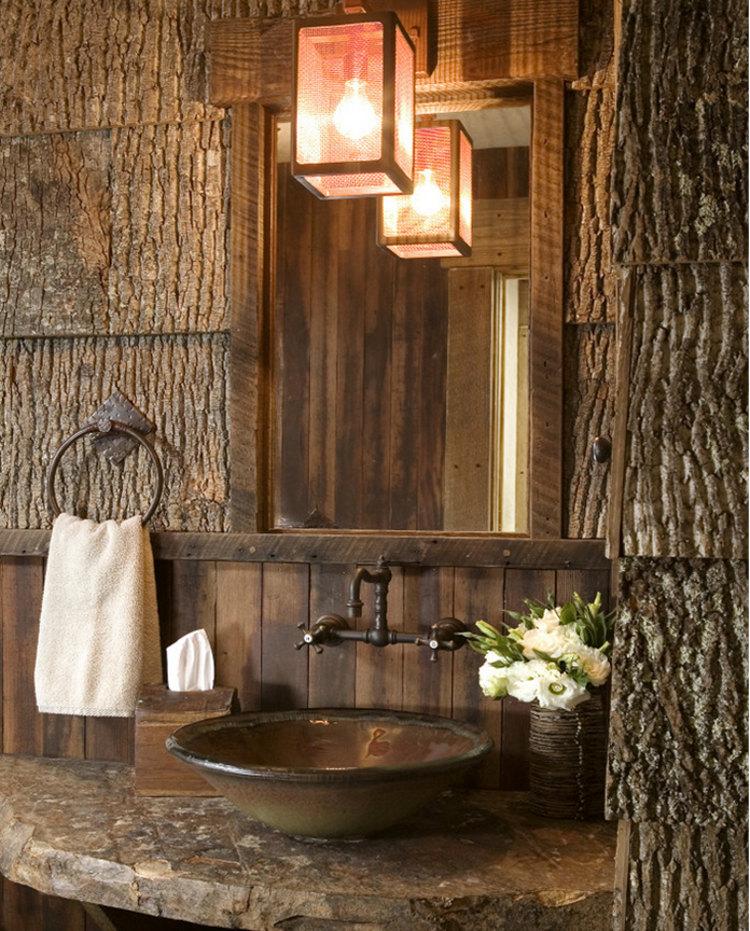 architectural shingles - popular bark log cabin style architectural shingles in a rustic bathroom - barkhouse.com via Atticmag