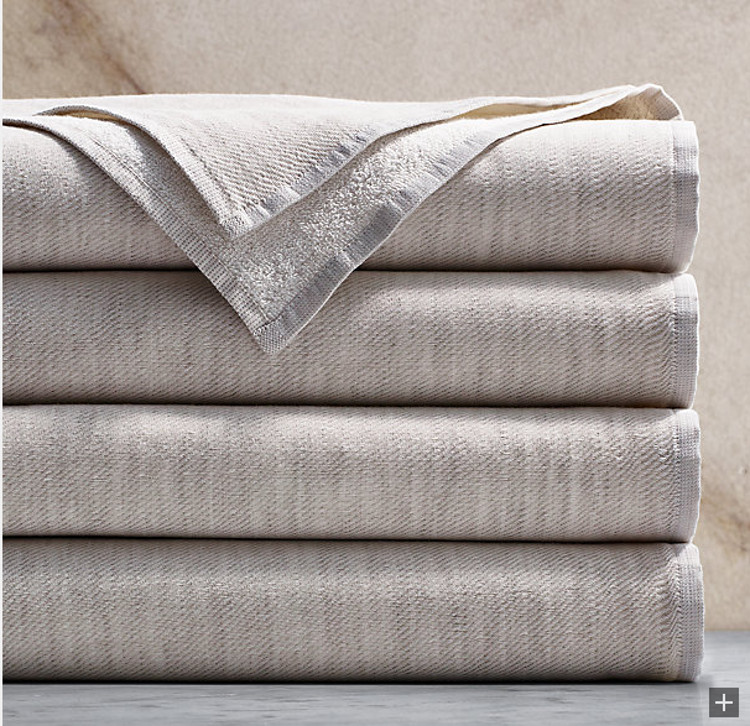 buying bath towels - Restoration Hardware cotton-linen reversible heathered bath towels - Restoration Hardware via Atticmag