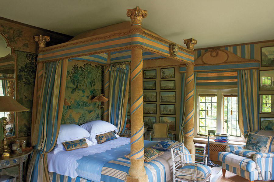 draped canopy beds - Anouska Hempel's Napoleonic tent-stripe fantasy bed in the Oriel room of her Wiltshire mansion - AD via Atticmag