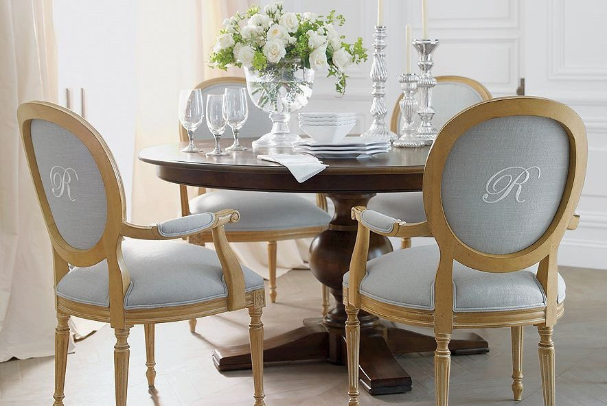 Delicieux Monogrammed Chair Backs   Contrast Monogram On Oval Back Arm Chairs    Vtinteriors Via Atticmag