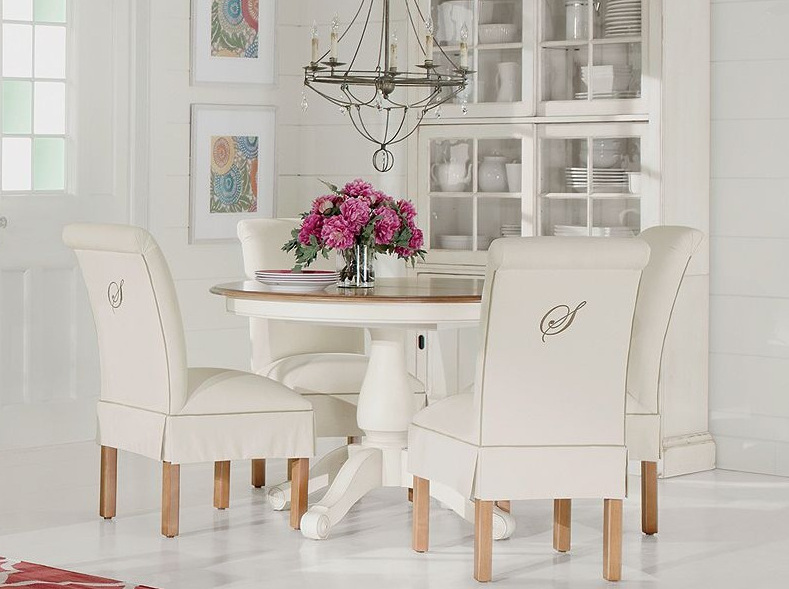 Monogrammed Chair Backs   Roll Back Side Chairs With Upholstery Details And  Monogram In Taupe