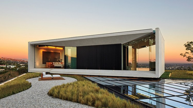 minimalist mansion - The third floor master bedroom of film maker Michael Bay's modern house in LA. has panoramic city views - Architectural Digest via Atticmag
