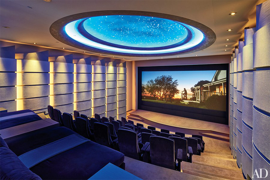 minimalist mansion - 40 seat screening room in film maker Michael Bay's modernist LA home - Architectural Digest via Atticmag