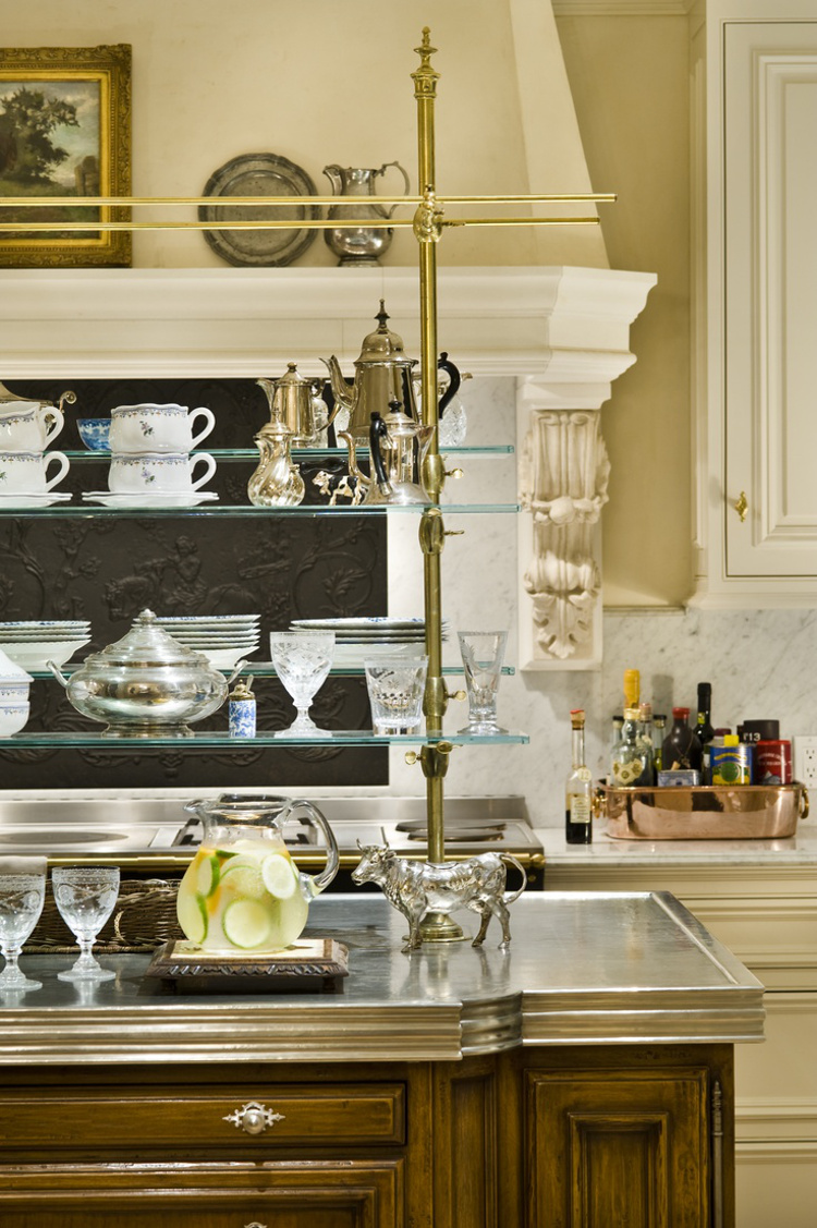 French bistro shelves - bistro shelves set in a custom zinc island counter - Linda Floyd via Atticmag