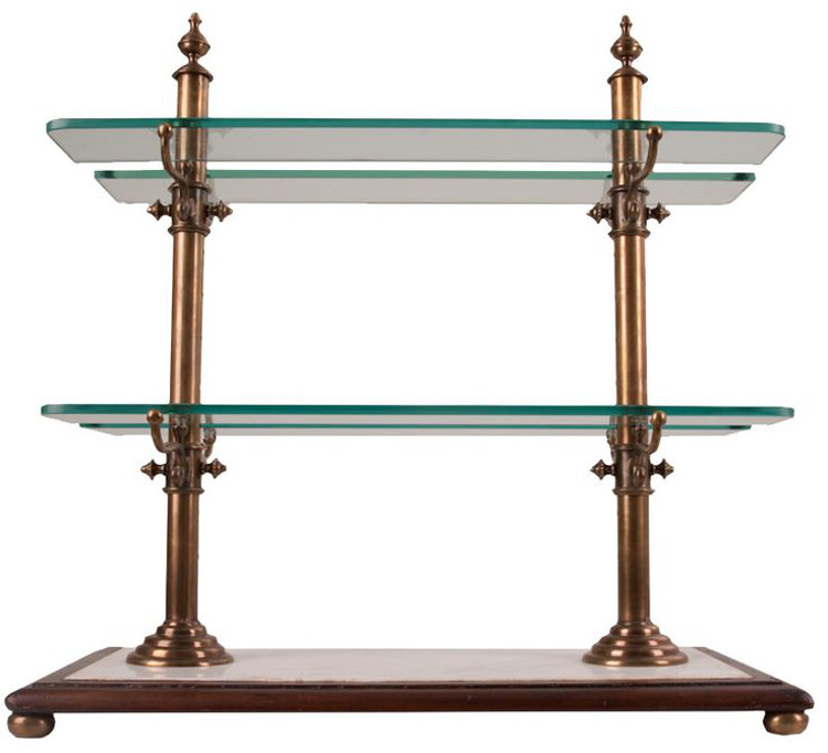 French bistro shelves - vintage reproduction shelves with bronze finish and marble base set in a wood frame - Fireside Antiques via Atticmag
