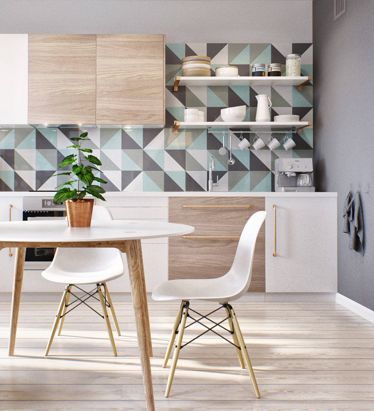 geometric tile - Russian studio apartment with pastel geometric pattern tile and minimalist cabinets - triptod.com via atticmag