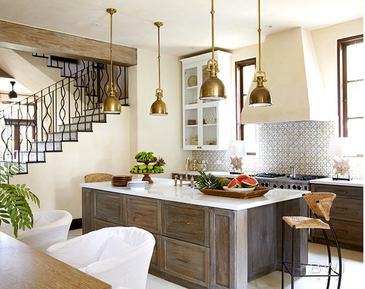 Ann Sacks Nottingham honeycomb tile in a neutral kitchen by Beth Webb - via Atticmag