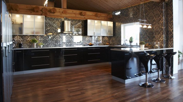 damask tile - large scale damask pattern tile backsplash in a Swedish log home - Atticmag