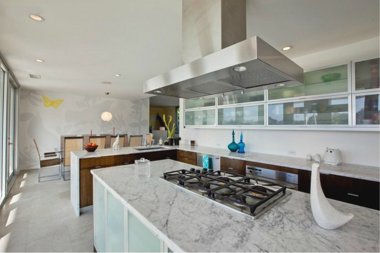 walnut kitchen - contemporary walnut and marble kitchen by Jill Crawford via Atticmag