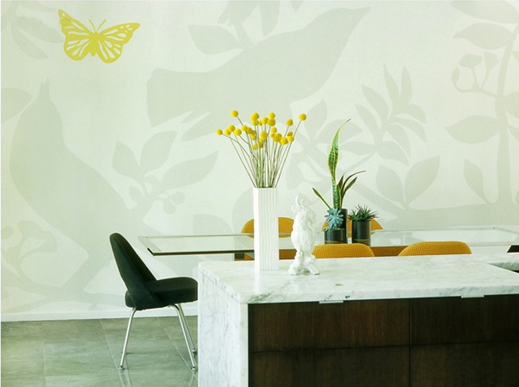 walnut kitchen - birds in trees mural in Jill Crawford's kitchen - Jill Crawford via Atticmag
